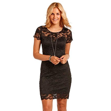 Panhandle Women's Red Label Women's Black Short Sleeve Lace Dress - J0-4213 (Large) (Cowgirl Western Dresses)