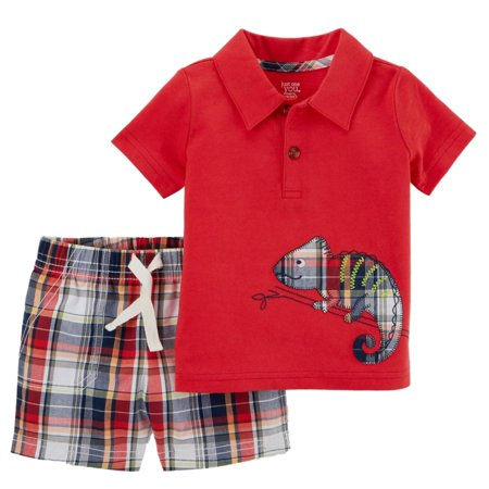 Carters Infant Boys 2-Piece Chameleon Polo Shirt & Plaid Shorts Set
