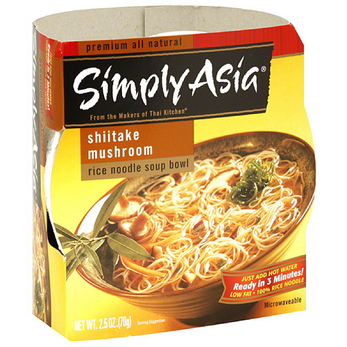 Simply Asia Shiitake Mushroom Rice Noodle Soup Bowl, 2.5 oz, (Pack of 6)