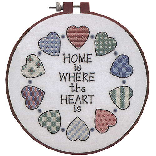 "Dimensions Learn-A-Craft ""Home and Heart"" Stamped Cross Stitch Kit, 6"" Round"