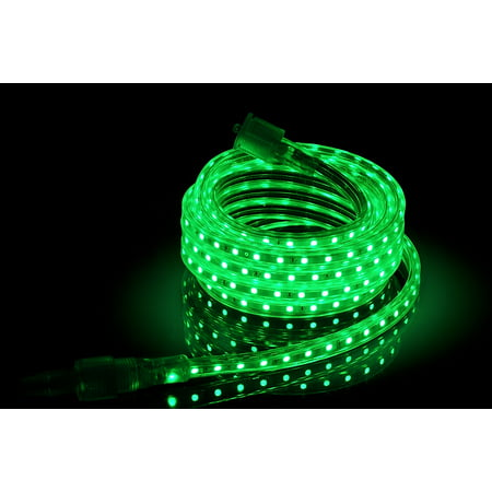 CBConcept UL Listed, 3.3 Feet, Super Bright 900 Lumen, Green, Dimmable, 110-120V AC Flexible Flat LED Strip Rope Light, 60 Units 5050 SMD LEDs, Indoor/Outdoor Use, [Ready to use] ()