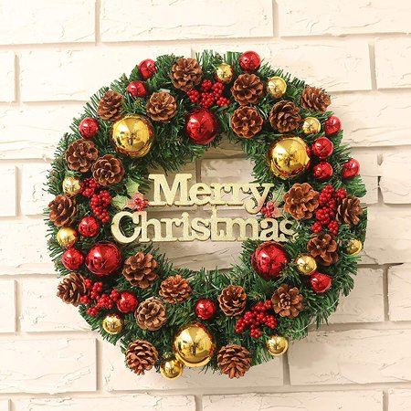 GLiving Winter Christmas Wreath with Pine Cones and Red Ornaments for Holiday Front Door Home Decor ()