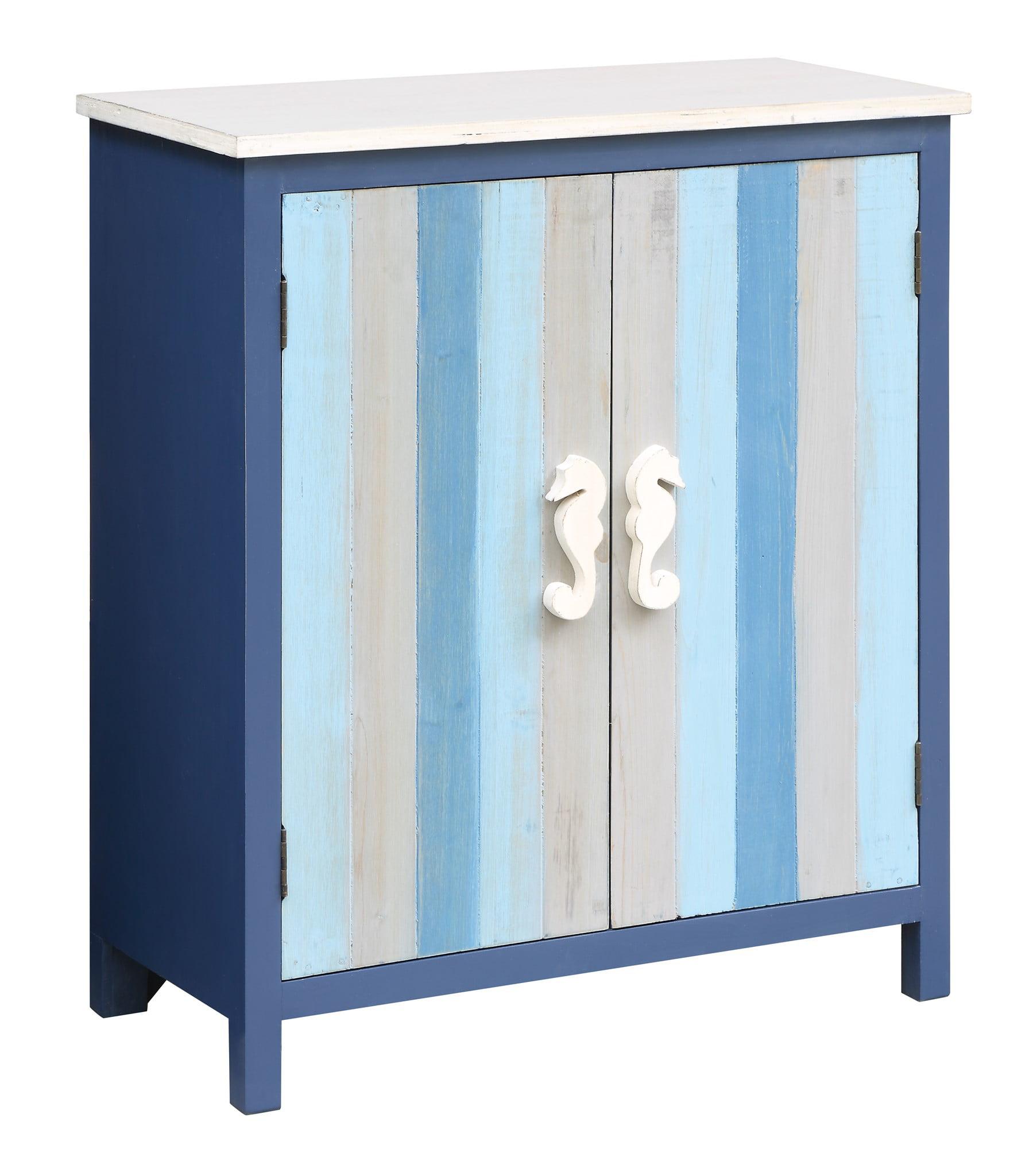 Nautical Blue And Grey Striped 2 Door Cabinet With Seahorse Hardware Walmart Com Walmart Com