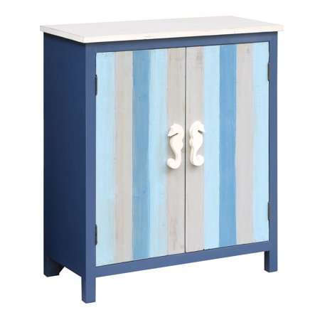 (Nautical Blue and Grey Striped 2 Door Cabinet with Seahorse Hardware)