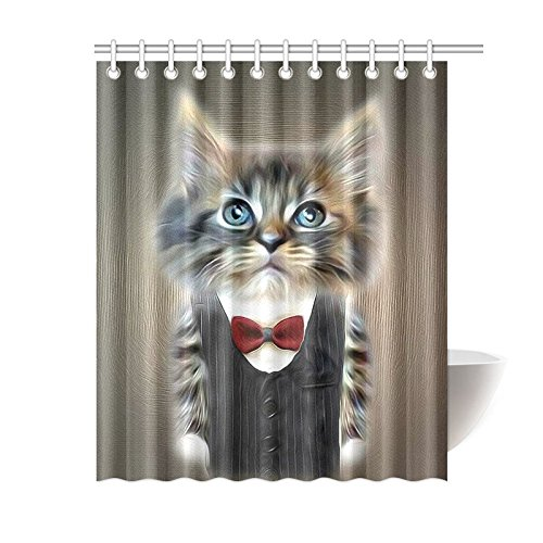 GCKG Animal Shower CurtainLovely Funny Cat In Suit Polyester