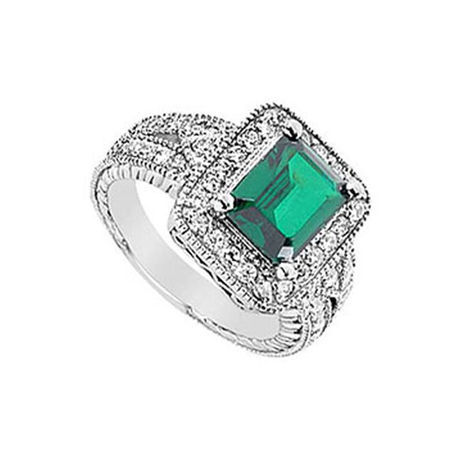 FineJewelryVault UBUK448W10CZE-118 Frosted Emerald and Cubic Zirconia Ring : 10K White Gold - 3. 25 CT TGW - Size: 7