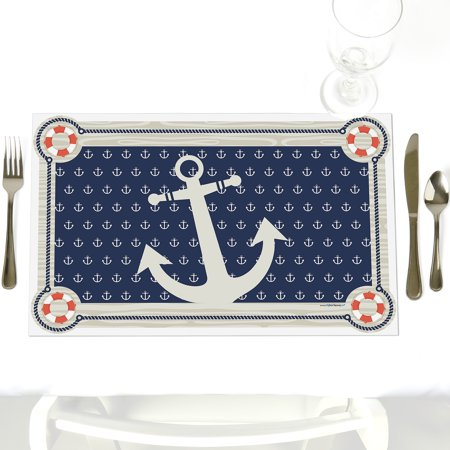 Ahoy - Nautical - Party Table Decorations - Baby Shower or Birthday Party Placemats - Set of 12 (Ahoy Baby Shower Decorations)