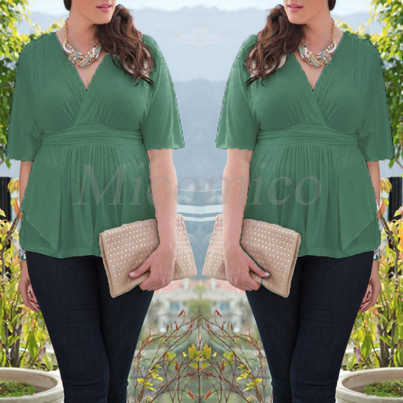 Plus Size Womens Tops Tee Shirt Bodycon Wave Hem Ruched Blouse Oversize Short Sleeve T-shirt,Army Green color