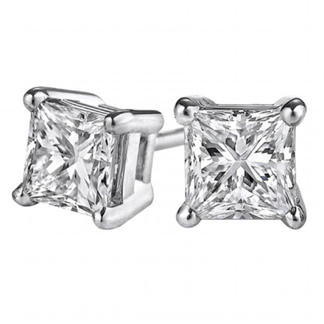 Fine Jewelry Vault UBERP020APRW14D Princess Cut Diamond Stud Earrings in 14K White Gold, 2 Stones