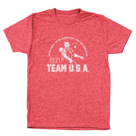 - Gump Ping Pong Team Usa Small Heather Red Men's Tri-Blend T-Shirt