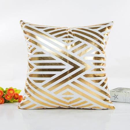Gold Pillowcases (Gold Foil Printing Pillow Case Sofa Waist Throw Cushion Cover Home Decor)