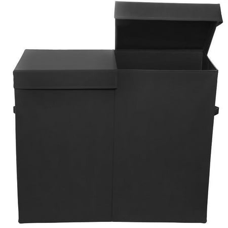 Modern Littles Smarty Pants Folding Double Laundry Basket, Solid Black