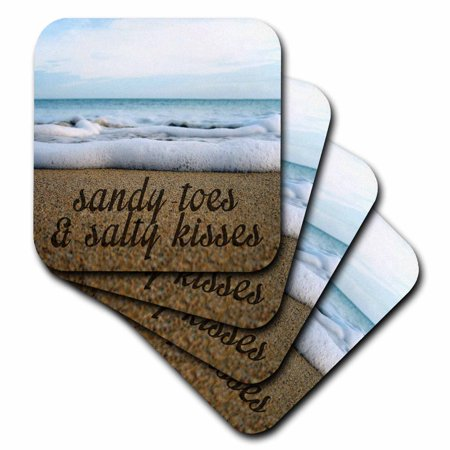 3dRose SANDY TOES AND SALTY KISSES OCEAN BACKGROUND - Soft Coasters, set of 8