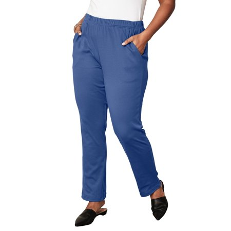 Roaman s - Plus Size Soft Knit Straight-leg Pants - Walmart.com 74a9c70658c
