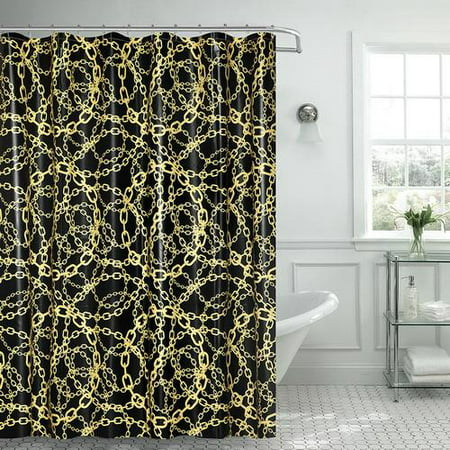 royal bath cadena amarilla chain peva non toxic shower curtain 70 x 72 with matching roller. Black Bedroom Furniture Sets. Home Design Ideas
