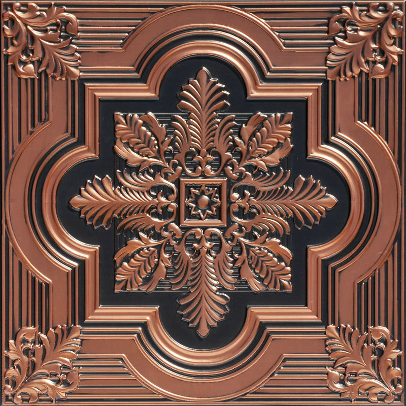 Large Snowflake 2 ft. x 2 ft. PVC Glue-up or Lay in Ceiling Tile in Antique Copper