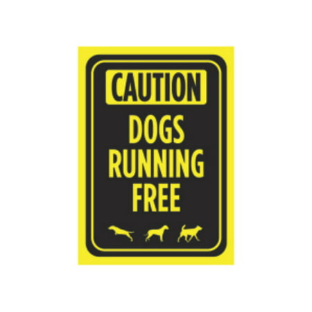 Aluminum Poster - Aluminum Metal Dogs Unleashed Behind Gate Print Bright Yellow Black Poster Caution Park Yard Outdoor Notice Sign