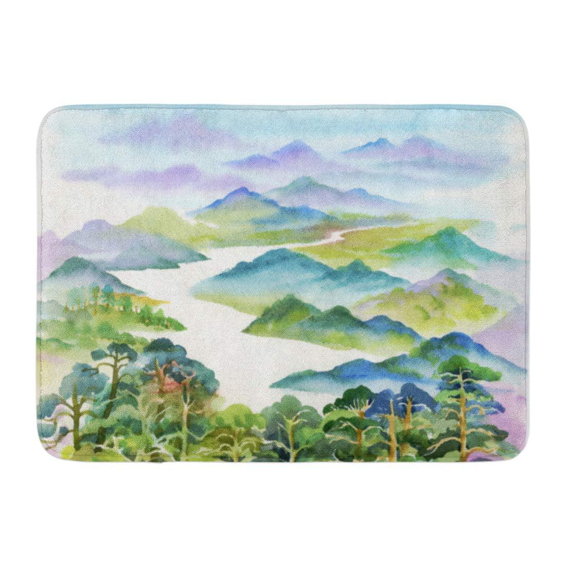 GODPOK Hills Green Painting Watercolor Summer River