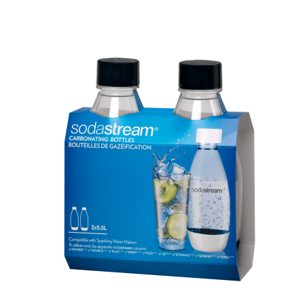 SodaStream Set of Two 0.5L Slim Carbonating Bottles – Black
