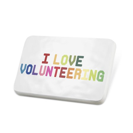 - Porcelein Pin I Love Volunteering,Colorful Lapel Badge – NEONBLOND