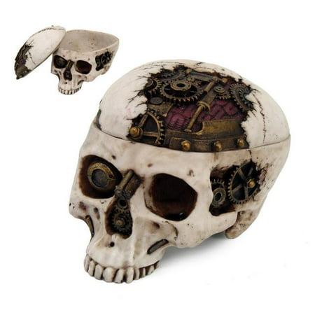 Gear Brain Steampunk Skeleton Skull Halloween Jewelry Trinket Box - Halloween Trinkets