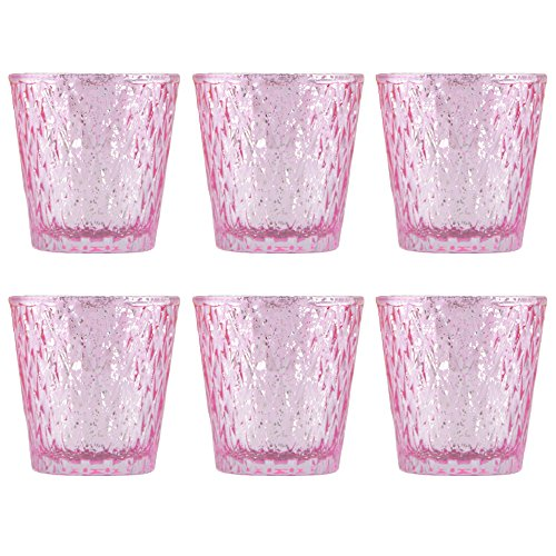 Pink Glass Votive Candle Holders with Diamond Design (Set of 6)