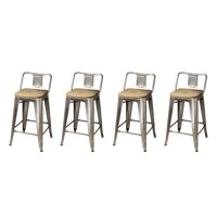 GIA Design Group 24 Inch Low Back Metal Stool Chair with Light Wood Seat, Gunmetal - Set of 4