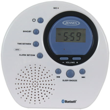 JENSEN JWM-160 Water-Resistant Digital AM/FM Bluetooth Shower Clock Radio ()