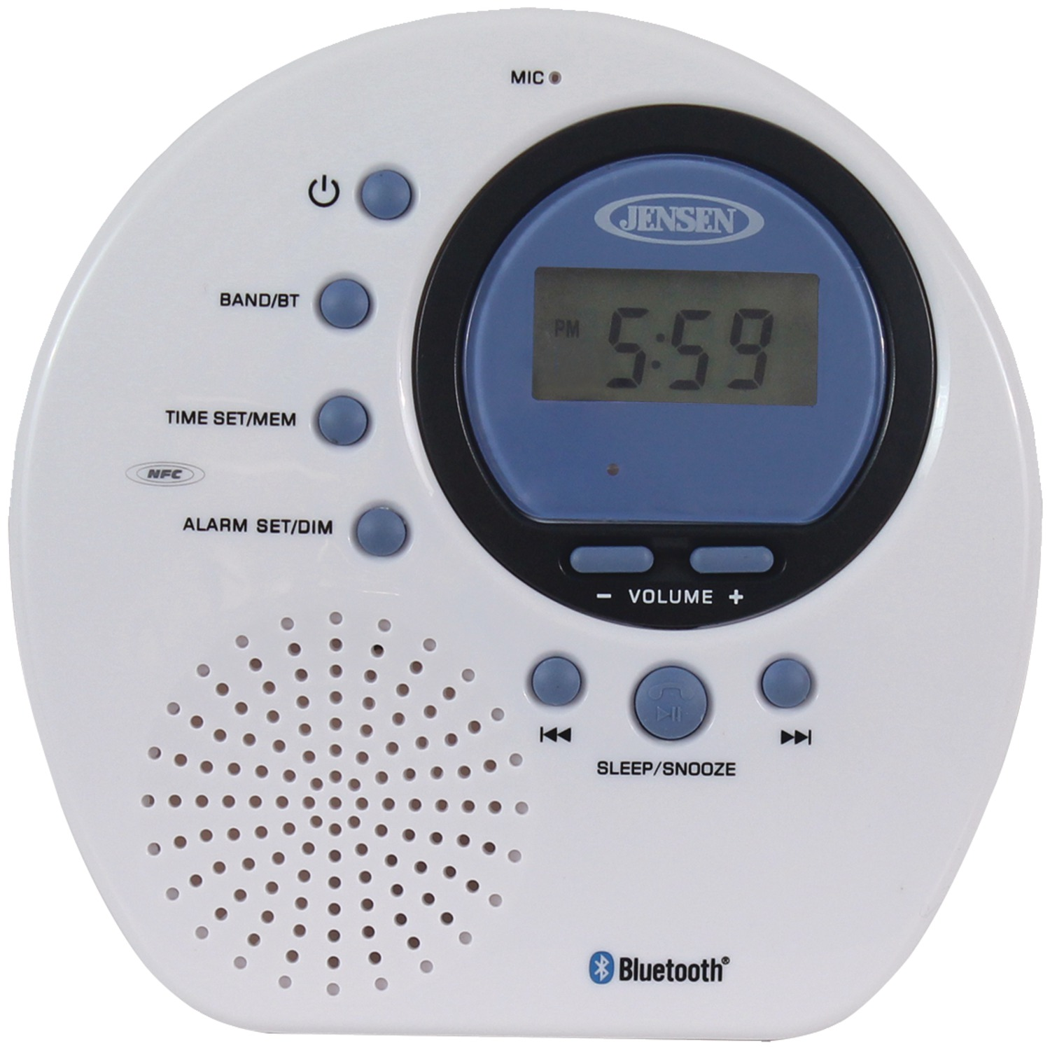 JENSEN JWM-160 Water-Resistant Digital AM/FM Bluetooth Shower Clock Radio