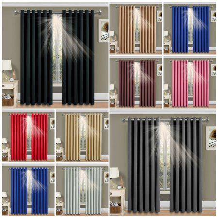 Solid Color Thermal Blackout Ready Made Eyelet Ring Top Curtains Panel Pencil Pleat - Dimout Energy Saving Ring Top Panel
