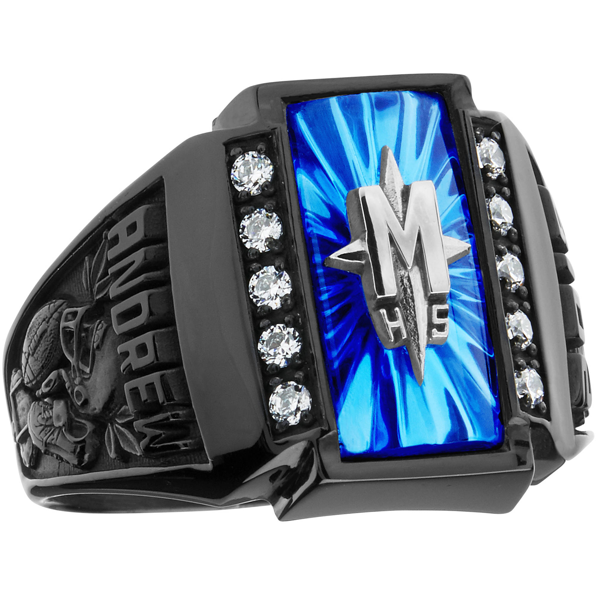 Keepsake Guy's Crest CZ Side Panel Class Ring