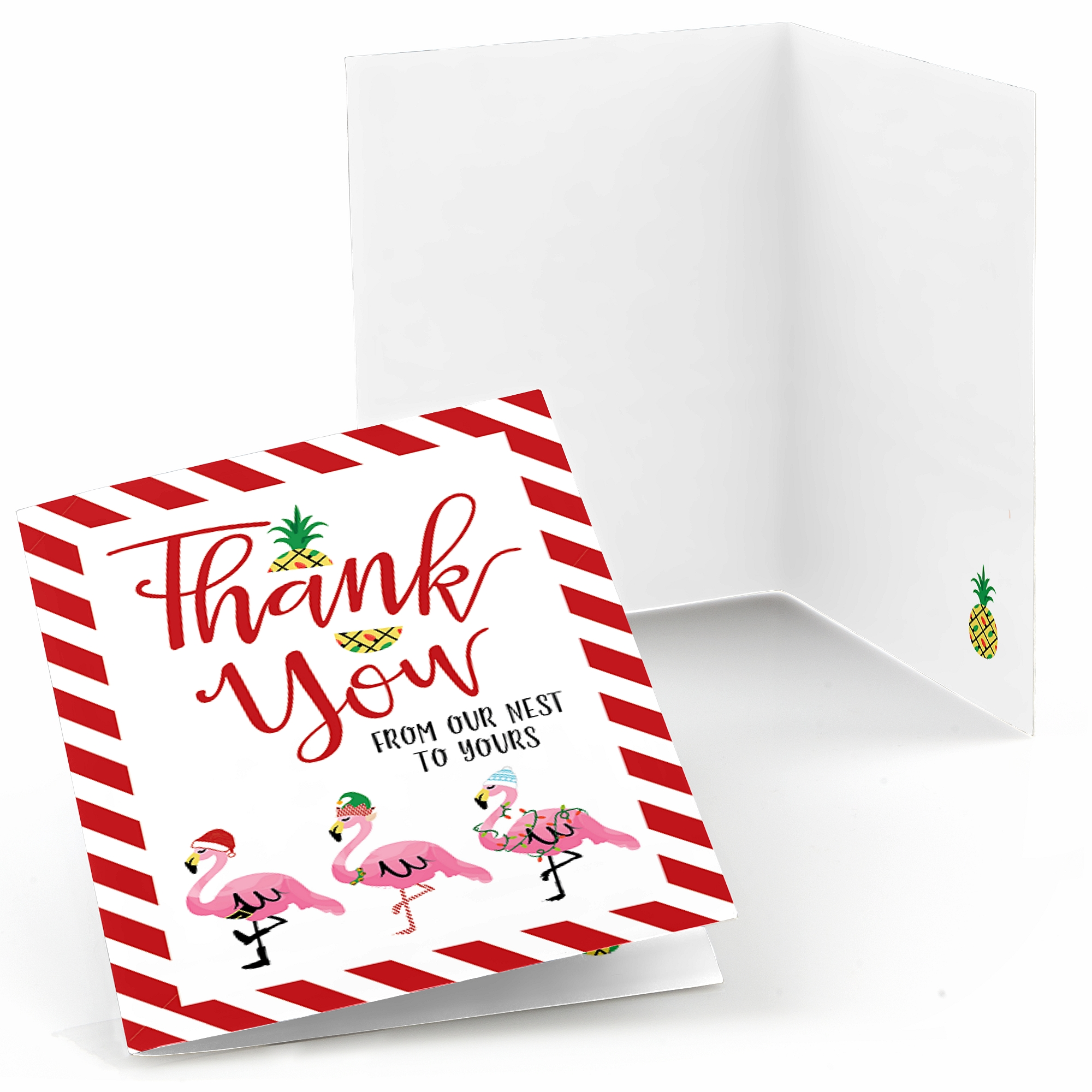 Flamingle Bells - Tropical Flamingo Christmas Party Thank You Cards (8 count)