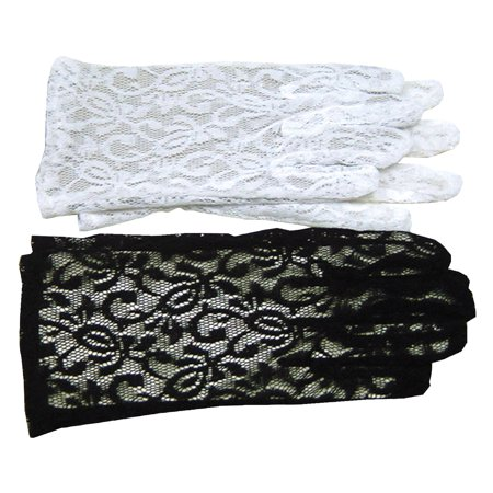 Black Lace Gloves Adult Halloween Accessory (Black Lace Halloween Curtains)
