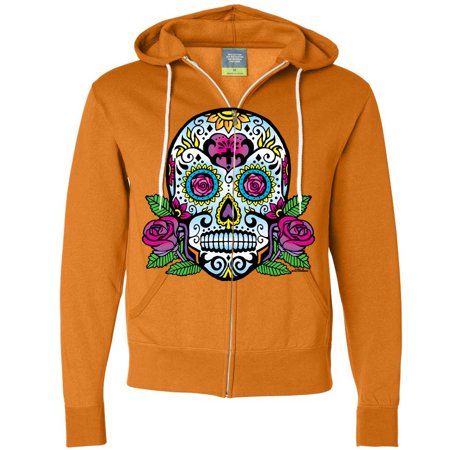 Dia De Los Muertos Sugar Skull Roses Zip-Up Hoodie
