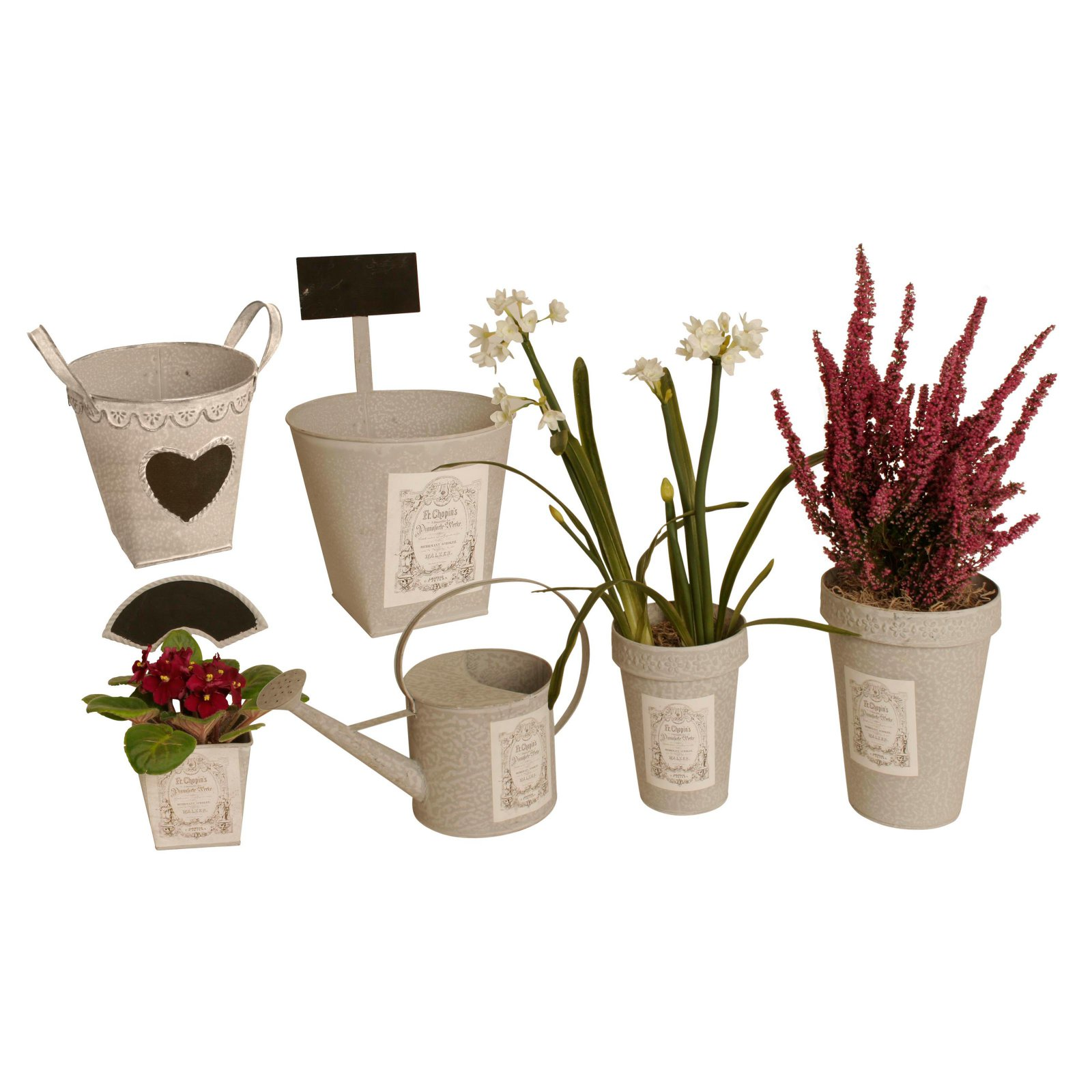 Wald Imports Assorted Metal Planter - Set of 6