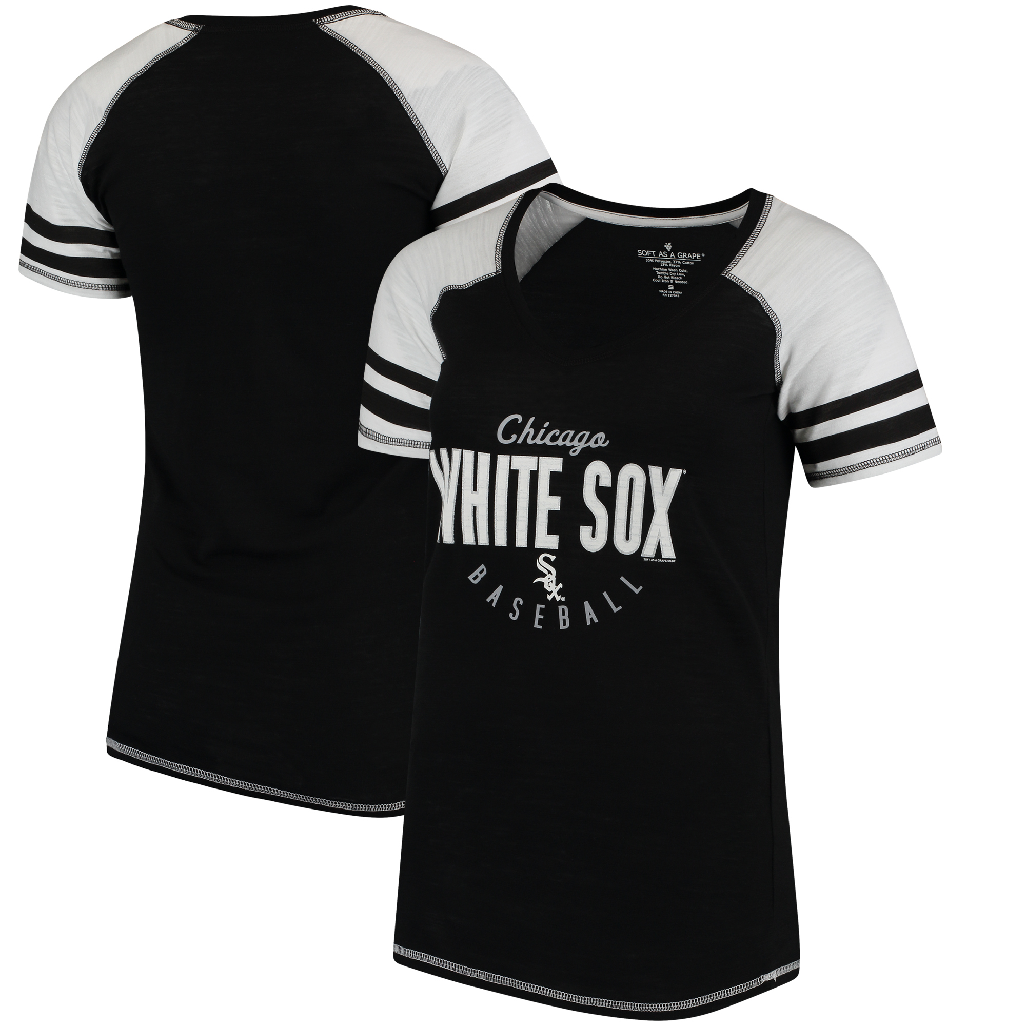 Chicago White Sox Soft As A Grape Women's Down the Line Color Blocked Tri-Blend V-Neck Raglan Sleeve T-Shirt - Black