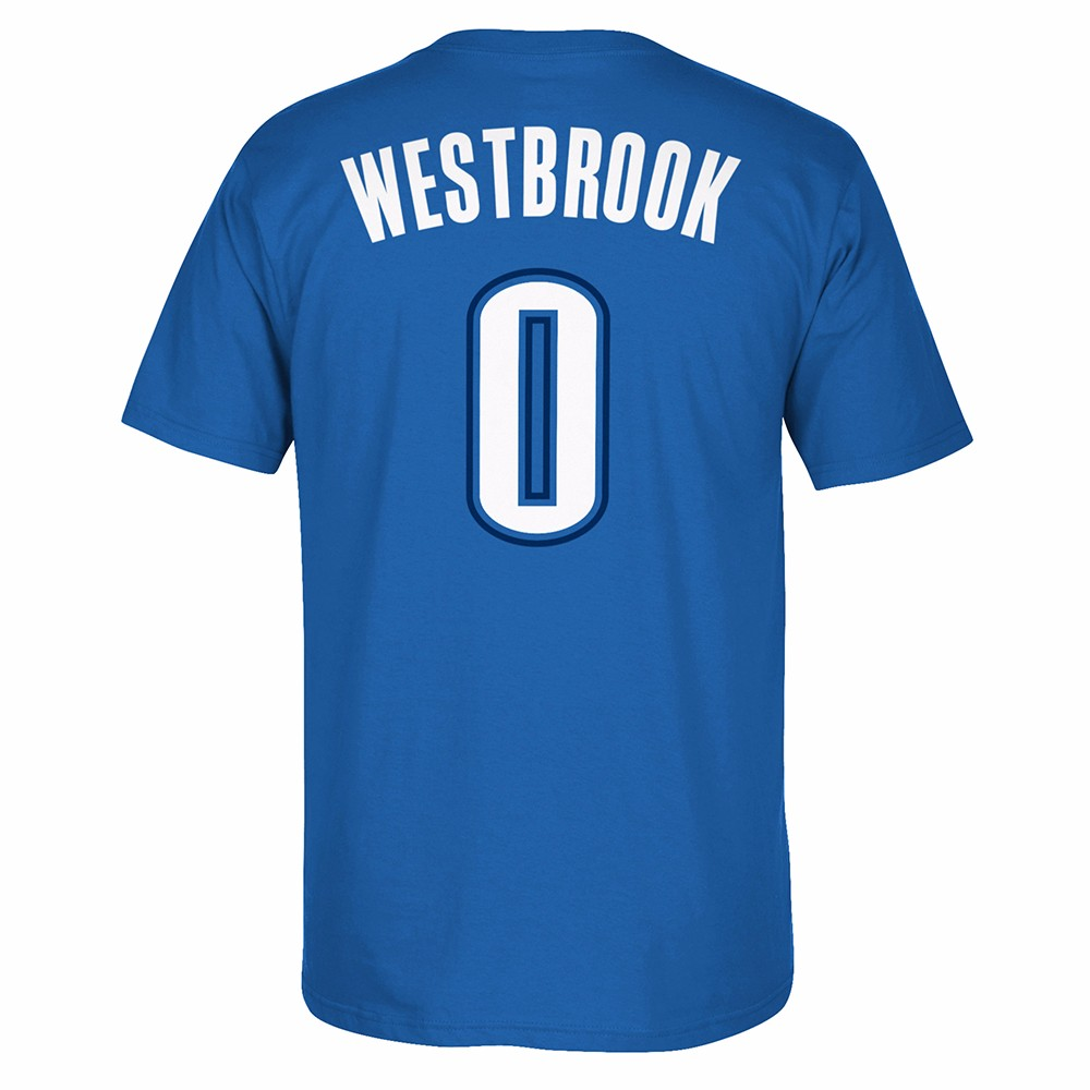 Russell Westbrook Oklahoma City Thunder NBA NBA Blue Name & Number Player Jersey Team Color T-Shirt For Men