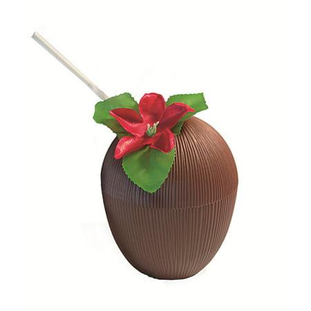 Luau Party Plastic Coconut Cup w Straw & Flower Decoration, Brown Multi (Plastic Coconut Cups)
