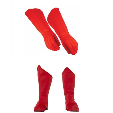 Child Superhero Red Shoe Covers Boot Tops and Gauntlet Gloves Costume Kit - Red Costume Boot Covers
