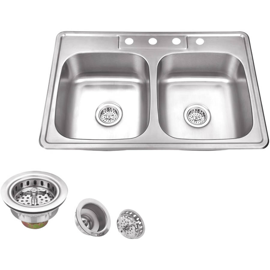 Magnus Sinks 33-in x 22-in 20 Gauge Stainless Steel Double Bowl Kitchen Sink and Drain Assemblies
