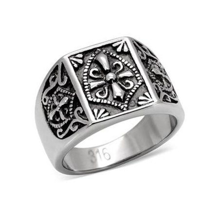 Lanyjewelry 316 Stainless Steel Mens Mason Templar Knights Templar Ring - Size 9