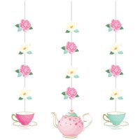 Creative Converting Floral Tea Party Hanging Cutouts, 3 ct