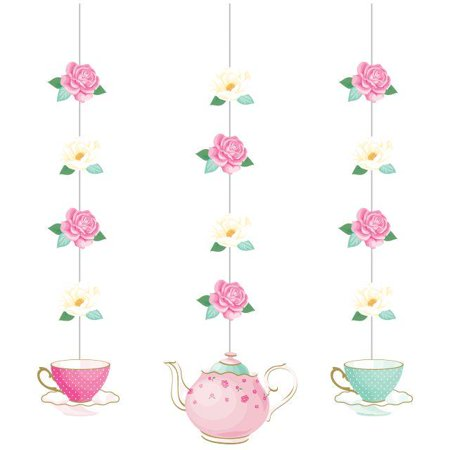 Creative Converting Floral Tea Party Hanging Cutouts, 3 ct - Tea Party Party Supplies
