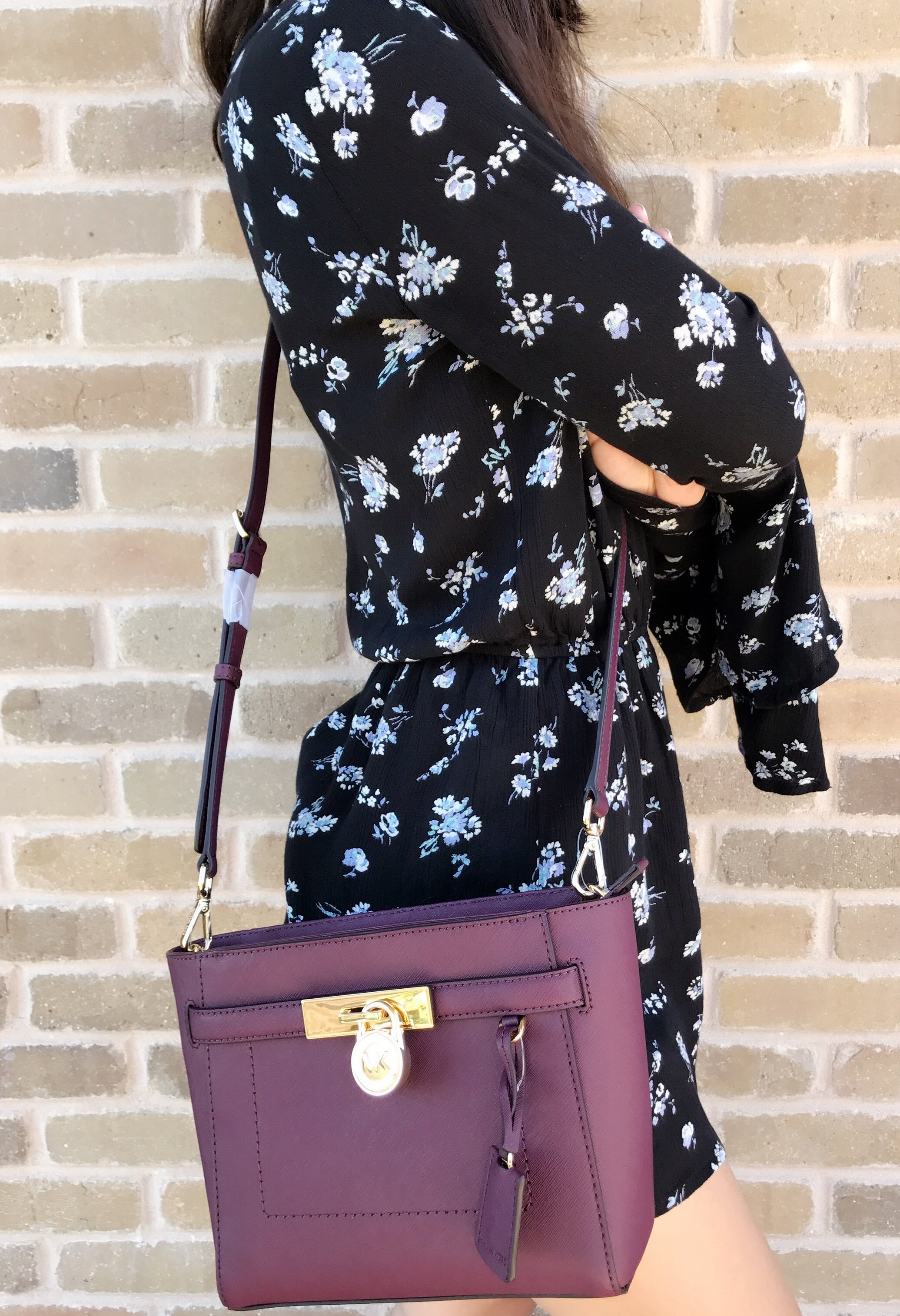 Michael Kors - NWT Michael Kors Hamilton Traveler Top Zip Small Crossbody  Plum Purple - Walmart.com 0dfc31fb74