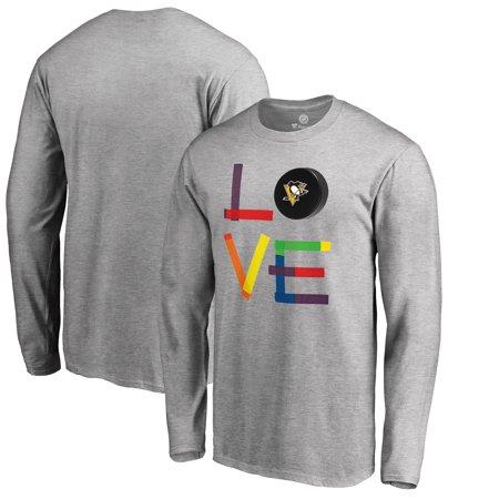 Pittsburgh Penguins Fanatics Branded Hockey Is For Everyone Love Square Long Sleeve T-Shirt - Heather Gray