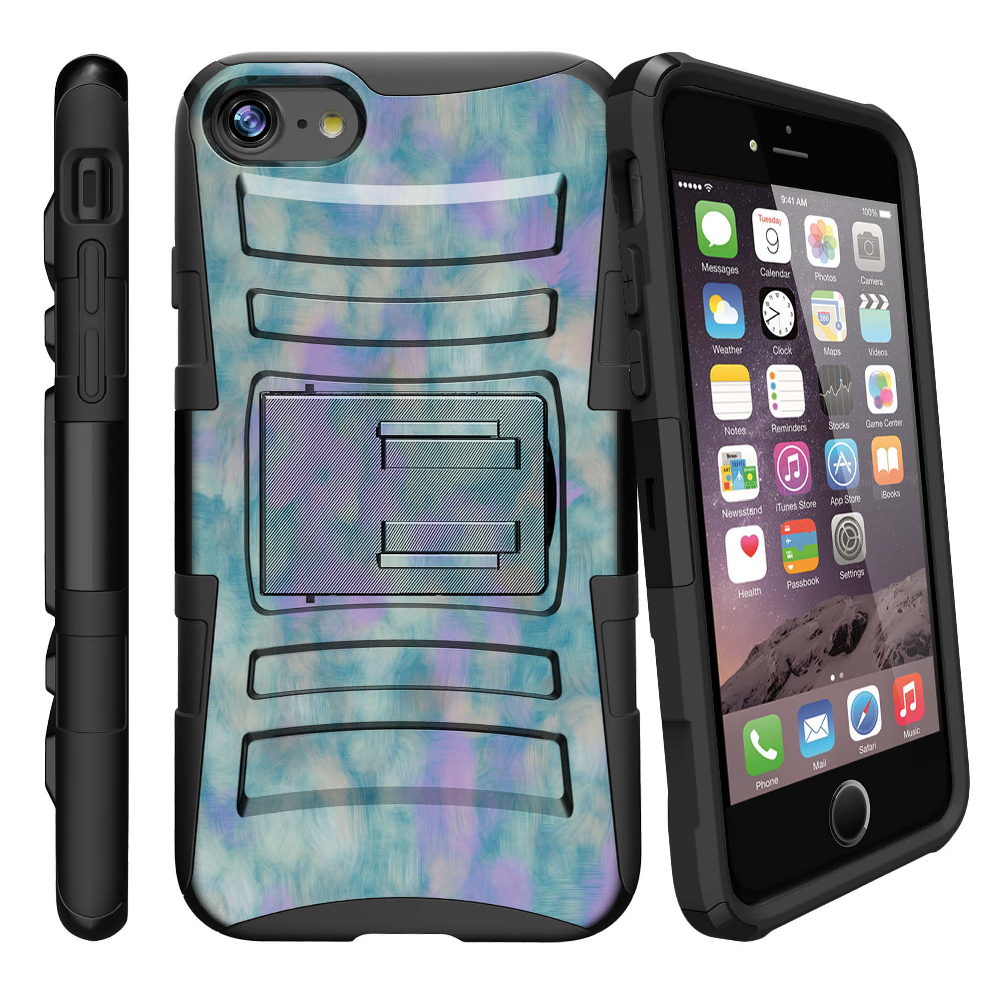 Apple iPhone 7  Case Shell [Clip Armor]- Premium Defender Case Hard Shell Silicone Interior with Kickstand and Holster by Miniturtle® - Blur of Muted Dreams
