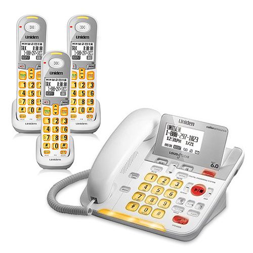 Refurbished Uniden D3098-3-R DECT 6.0 Amplified Corded/Cordless Phone w/ 2 Extra Handsets