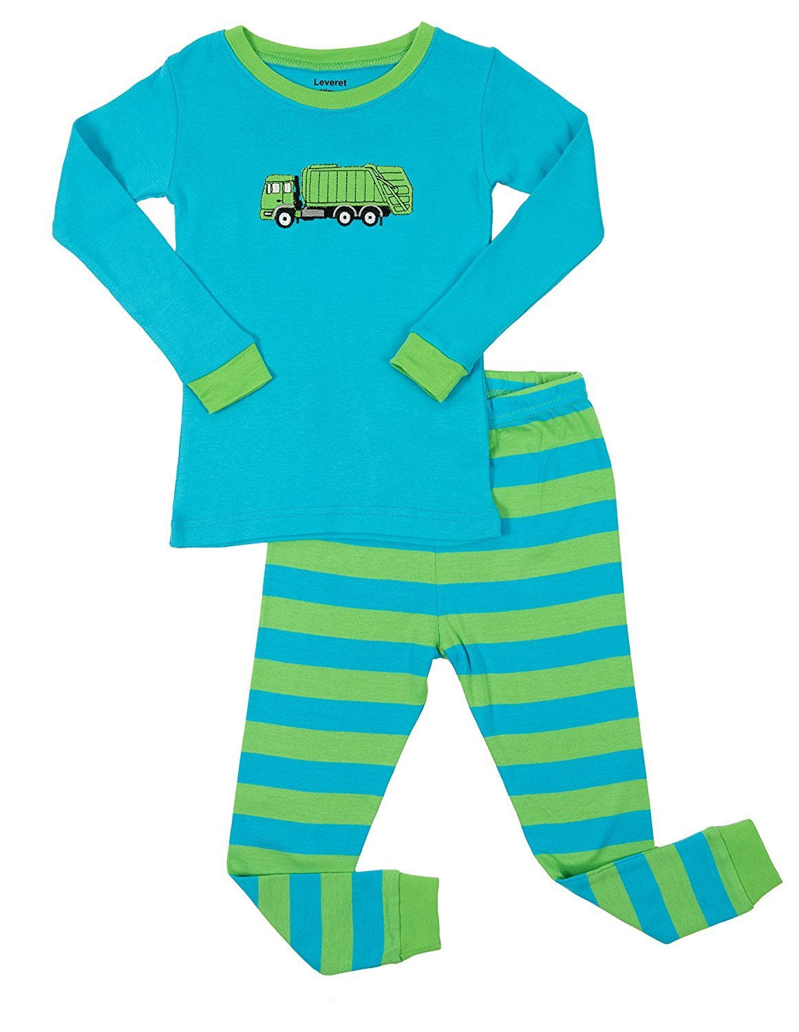 Leveret Garbage Truck 2 Piece Pajama Set 100% Cotton 12-18 Months