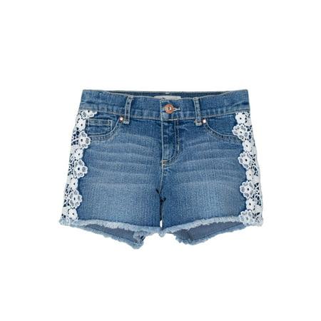 Jordache Lace Trim Fray Hem Denim Short (Little Girls & Big Girls)