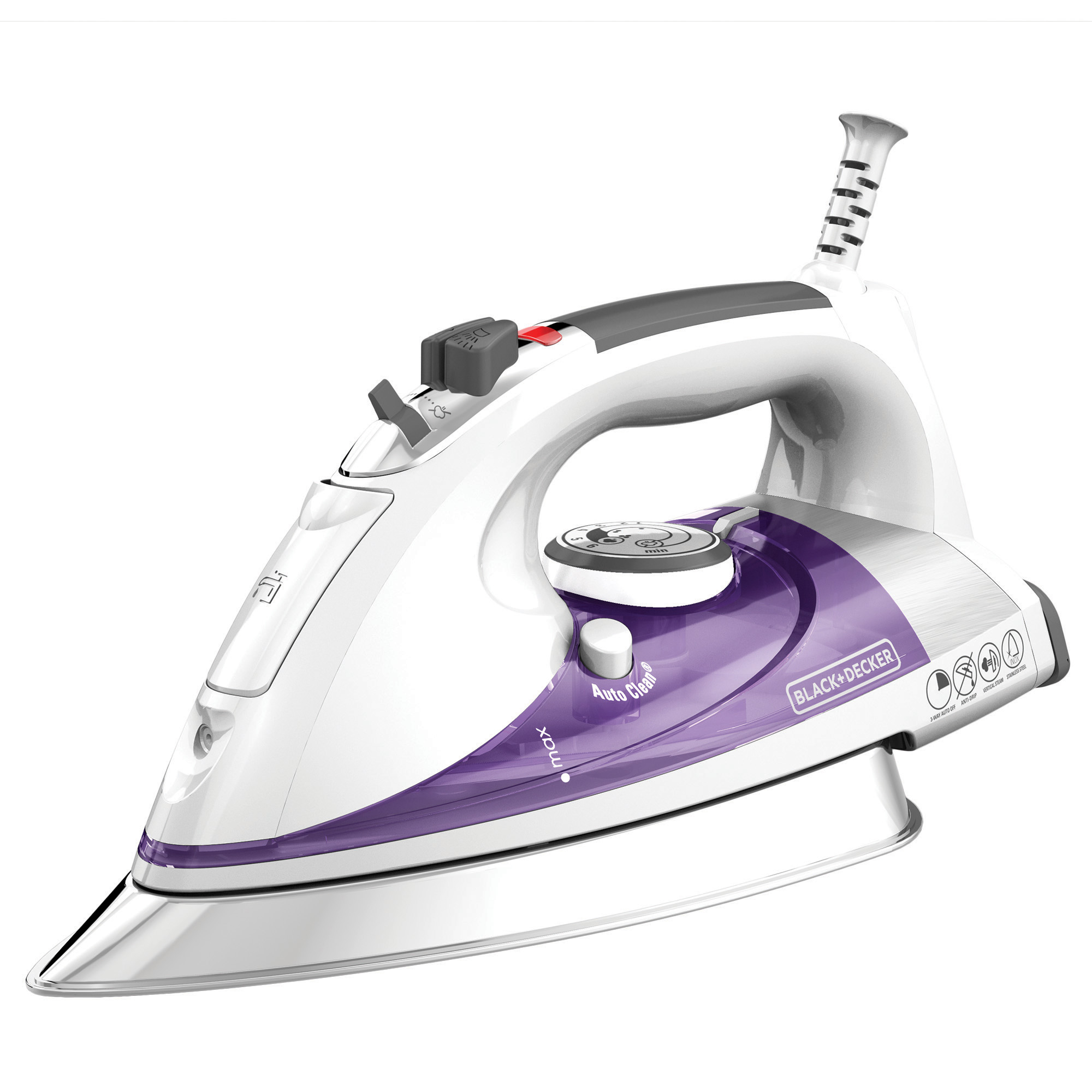 BLACK+DECKER Professional Steam Iron with Stainless Steel Soleplate and Extra-Long Cord, Purple, IR1350S